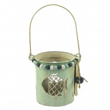 Metal Tealight Holder with Fish, 9cm