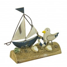Metal Sailboat with Gull, 18cm