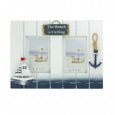 """""""The Beach is Calling"""" Double Photo Frame, 30cm"""