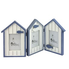 Beach Huts Triple Photo Frame, 45x25cm