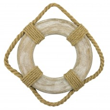 Wooden Life Ring with Rope Detailing, 30cm