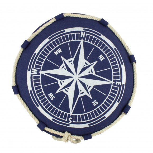 Cushion with Compass Design, navy 40cm