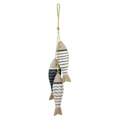 Wooden Hanging Fish, blue/white, 41cm