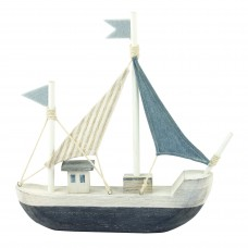 Wooden Boat with Striped Sail, blue/white, 28cm