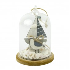Glass Dome Yacht/Seagull/Shells, 8x11cm