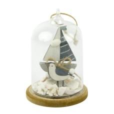 Glass Dome Yacht/Seagull/Shells, 8x11cm