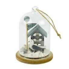Glass Dome Beach Hut/Seagull/Flag, 8x11cm