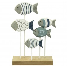 Wooden Shoal of Fish (5), stripes, 15cm