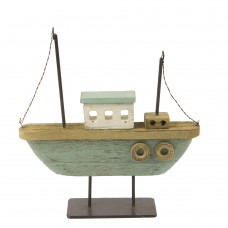 Twin-masted Rustic Boat, green, 21cm