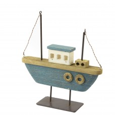 Twin-masted Rustic Boat, blue, 21cm
