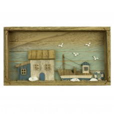 Boat & Cottage Picture Box, 33x18cm