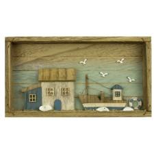Boat & Cottage Picture Box, 33x18cm