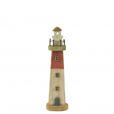 Rustic Wooden Lighthouse, red, 26cm