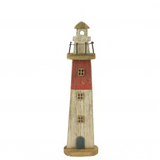 Rustic Wooden Lighthouse, red, 35cm