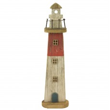 Rustic Wooden Lighthouse, red, 49cm