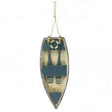 Wooden Dinghy, blue, 24x10cm