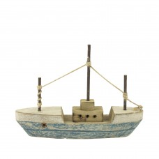 Triple-masted Trawler, blue,18x13cm