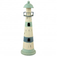 Rustic Metal Lighthouse, light blue/white, 35cm