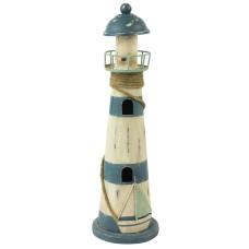 Rustic Metal Lighthouse, dark blue/white, 35cm