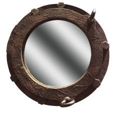 Rust-effect Porthole Mirror, 35cm