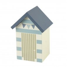 Beach Hut Money Box, striped door, 14cm