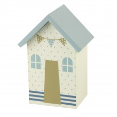 Beach Hut Money Box, blue dots, 16cm