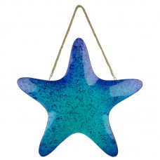Hanging Glass Starfish Décor, blue, 43cm