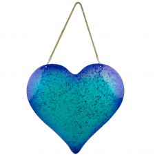 Hanging Glass Heart Décor, blue, 42cm