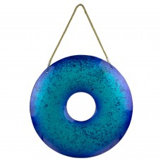 Hanging Glass Ring Décor, blue, 43cm