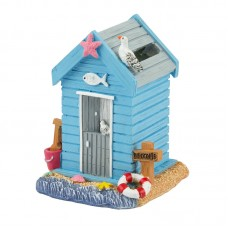 Beach Hut Money Box, blue, 9cm