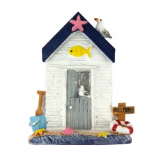 Beach Hut Fridge Magnet, white, 7cm