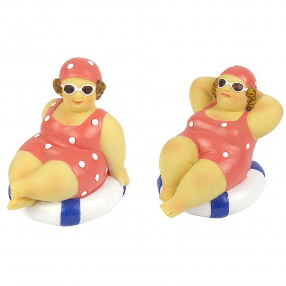 Fat Ladies Sitting on Rubber Ring,  2 assorted, 8cm