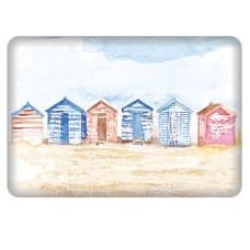Coastal Fridge Magnet with Beach Huts, 8cm