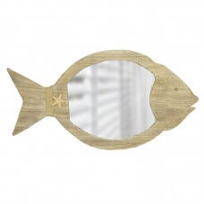 Fish-shaped Wooden-framed Mirror, 56cm