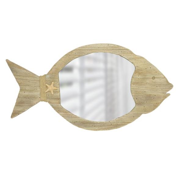 Fish-shaped Wooden-framed Mirror, 56cm