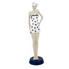 Elegant Beach Lady in Spotty Swimsuit, white/blue, 30cm