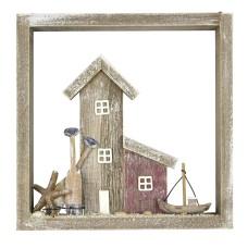 Framed House/Coastal Scene, 22cm