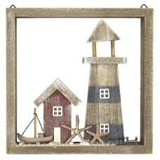 Framed Lighthouse/Coastal Scene, 22cm
