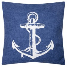 Denim-style Cushion with Anchor, blue, 40cm