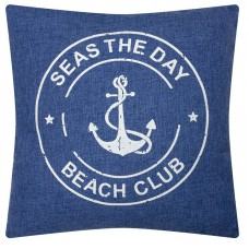 "Denim-style ""Seas the Day"" Cushion, blue, 40cm"