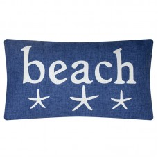 "Denim-style ""Beach"" Cushion, blue, 50x30cm"