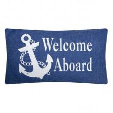 "Denim-style ""Welcome Aboard"" Cushion, blue, 50x30cm"