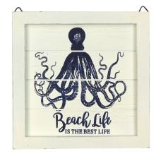 "Framed Octopus ""Beach Life"", cream, 20cm"