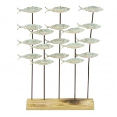 Shoal of Fish on Wooden Stand, green, 29x33cm
