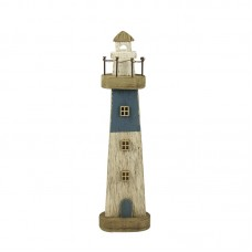 Rustic-style Wooden Lighthouse, blue, 27cm