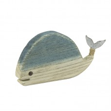 Wooden Whale with Metal Tail/Rope, 20cm