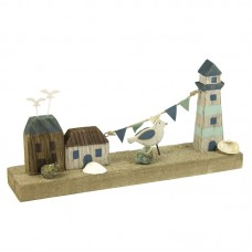 Wooden Lighthouse/Coastal Scene, 27cm