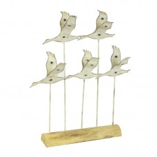 Flying Seabirds on Wooden Stand, 34cm