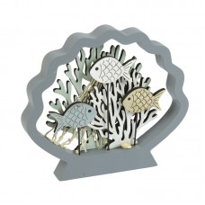 Coral/Fish in Shell Frame, grey, 18cm