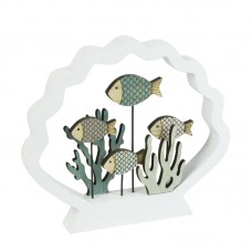 Coral/Fish in Shell Frame, white, 18cm